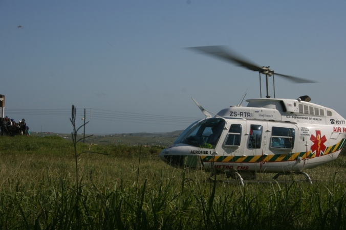 Helicopter leaving  Madwaleni